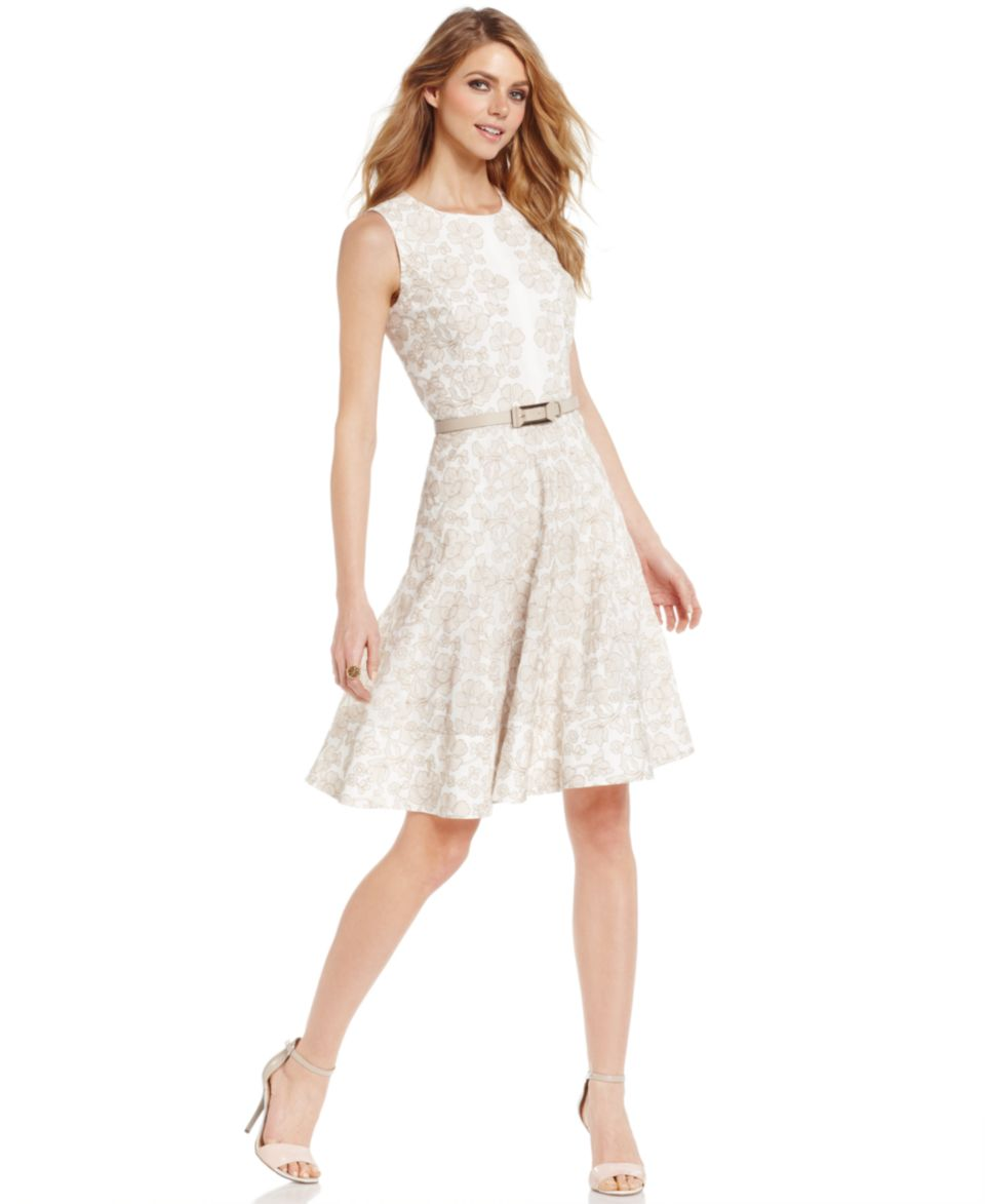 Anne Klein Sleeveless Contrast Floral Lace Dress   Dresses   Women