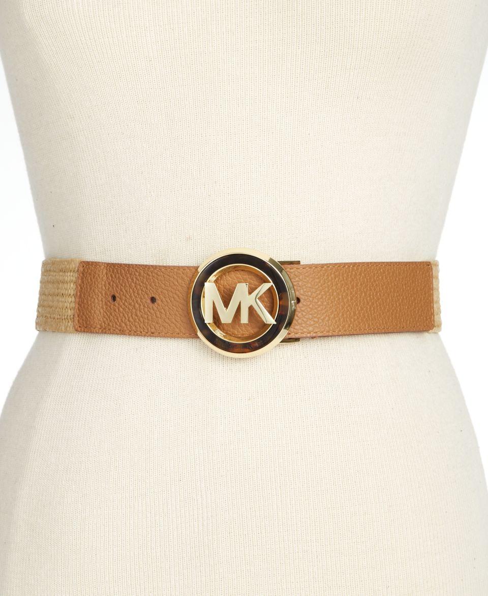 Michael Kors Reversible Leather Belt with Logo Buckle Belt   Handbags & Accessories
