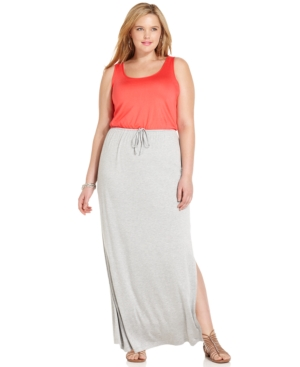 Soprano Plus Size Sleeveless Colorblocked Maxi Dress