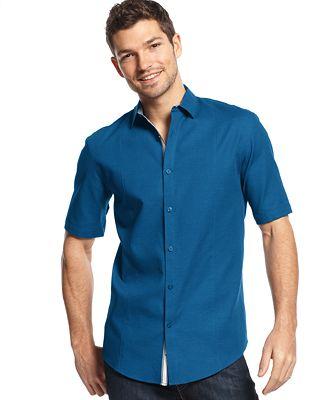 Alfani Black Reef Textured Shirt Casual Button Down
