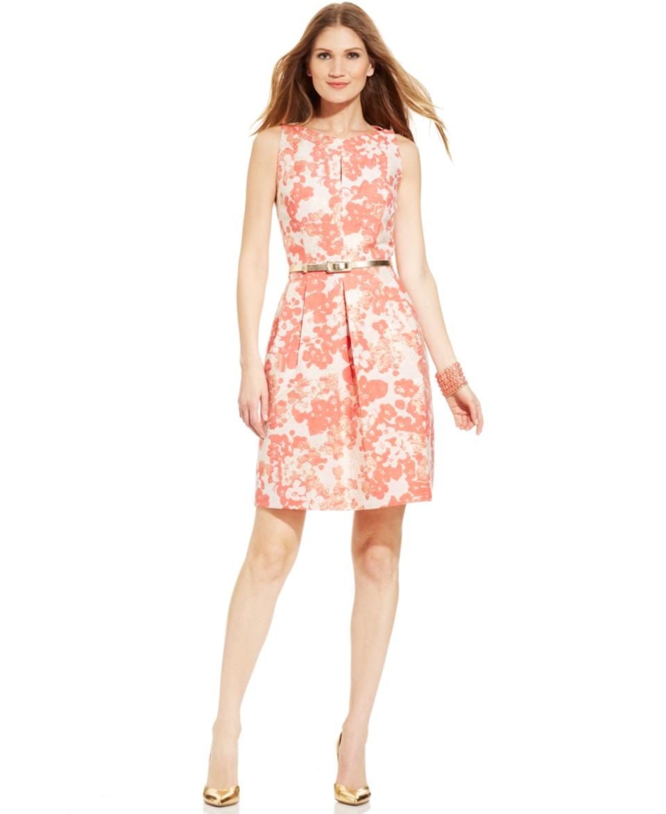 Tahari by ASL Metallic Jacquard Floral Print Dress   Dresses   Women