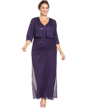 Alex Evenings Plus Size Sequin-Lace Ruched Gown and Jacket