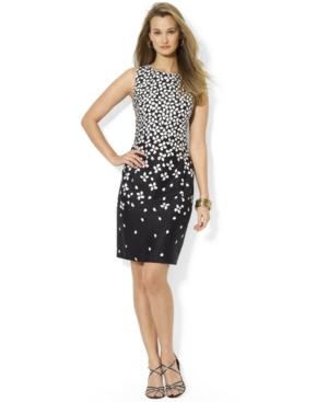 Lauren Ralph Lauren Sleeveless Colorblocked Floral-Print Sheath Dress