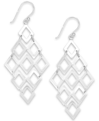 Studio Silver Diamond-Shaped Chandelier Earrings in Sterling Silver