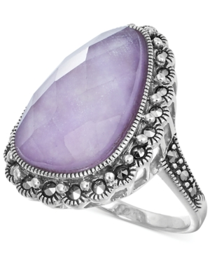 Genevieve & Grace Lavender Jade Doublet (3/8 ct. t.w.) and Marcasite Ring in Sterling Silver
