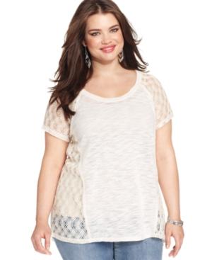 Eyeshadow Plus Size Short-Sleeve Crochet Top
