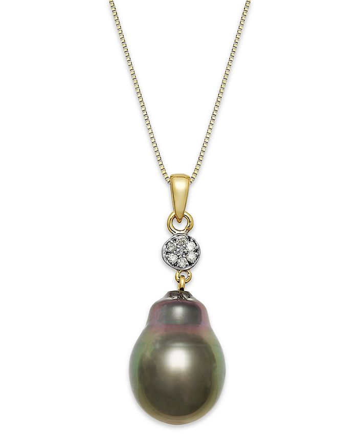 Macy's - Baroque Tahitian Pearl (12 mm) and Diamond Accent Pendant Necklace in 14k Gold