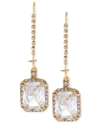 Betsey Johnson Gold-Tone Square Stone and Crystal Drop Earrings
