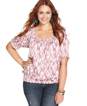 American Rag Plus Size Short-Sleeve Ikat-Print Peasant Top