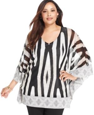 Alfani Plus Size Printed Kimono-Sleeve Tunic