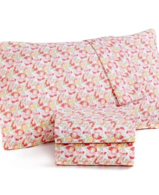Martha Stewart Collection Wild Blossoms 300 Thread Count Cotton Percale King Sheet Set