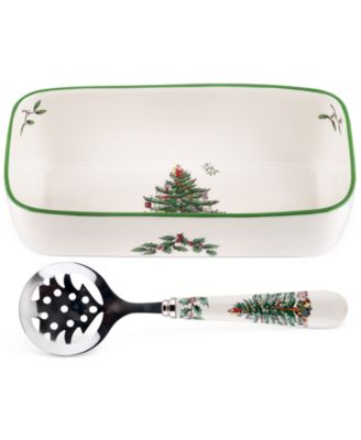 Spode Christmas Tree Cranberry Server with Spoon