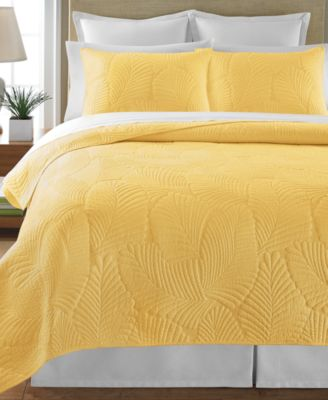 Martha Stewart Collection Atlantic Palm Yellow King Quilt