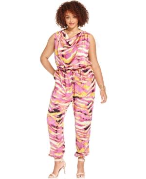 Modamix Plus Size Sleeveless Printed Jumpsuit