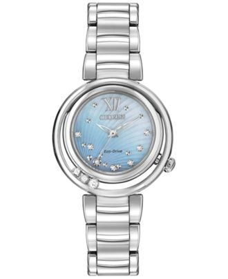 Citizen Women's Eco-Drive L Series Sunrise Diamond Accent Stainless Steel Bracelet Watch 29mm EM0320-59D