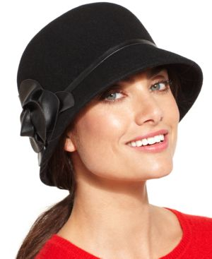 Nine West Felt Cloche Hat with Faux Leather Flower