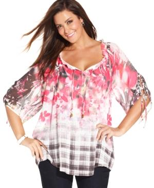 Style & co. Plus Size Floral & Plaid Peasant Top