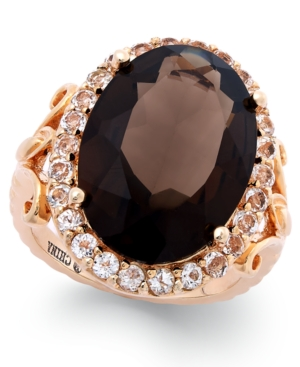 Victoria Townsend Smoky Quartz (10-3/4 ct. t.w.) and White Topaz (1 ct. t.w.) Cocktail Ring in 18k Rose Gold over Sterling Silver