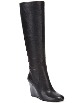 nine west heartset wedge wide calf dress boots
