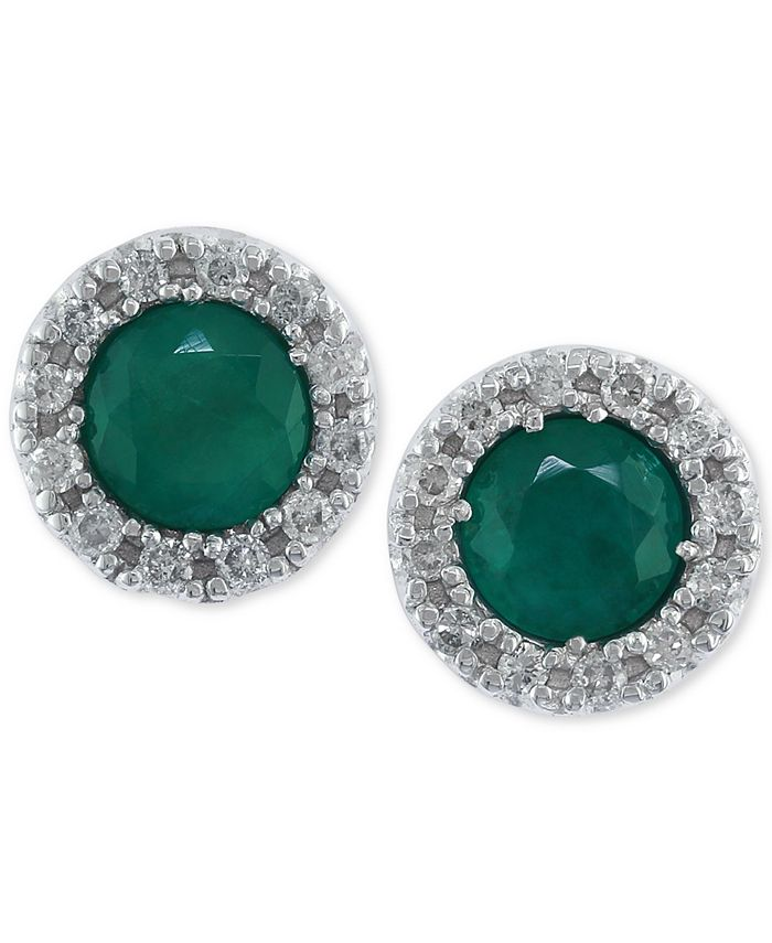 EFFY Collection - Emerald (3/4 ct. t.w.) and Diamond (1/8 ct. t.w.) Stud Earrings in 14k White Gold