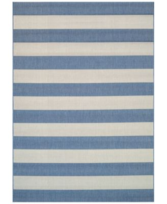 "Couristan Indoor/Outdoor Area Rug, Afuera 5229/9013 Yacht Club Cornflower-Ivory 2'2"" x 7'10"""