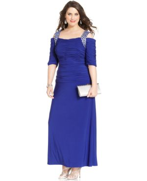Alex Evenings Plus Size Cold-Shoulder Embellished Gown