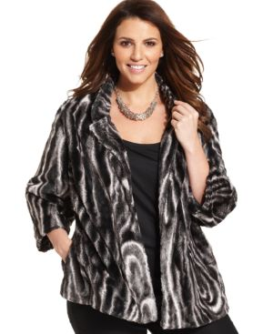 Alfred Dunner Plus Size Faux-Fur Jacket
