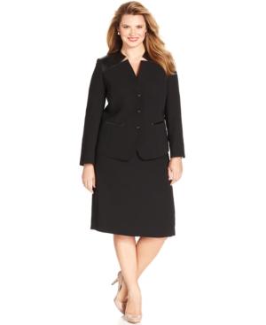 Tahari ASL Plus Size Faux-Leather-Trim Skirt Suit
