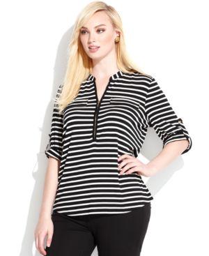 Calvin Klein Plus Size Striped Zipper-Neck Top