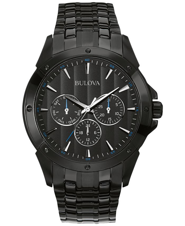 Bulova - Men's Black Ion-Plated Stainless Steel Bracelet Watch 43mm 98C121