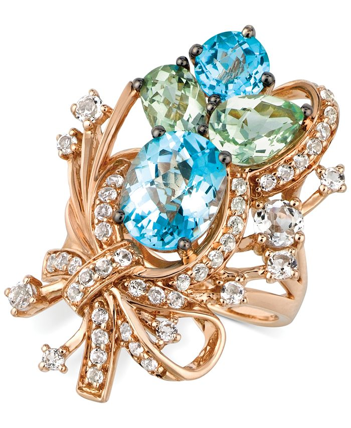 Le Vian - Blue Topaz, White Topaz and Green Quartz Cluster Ring in 14k Rose Gold (7 ct. t.w.)