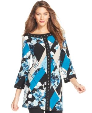 Style & co. Plus Size Printed Embellished Tunic