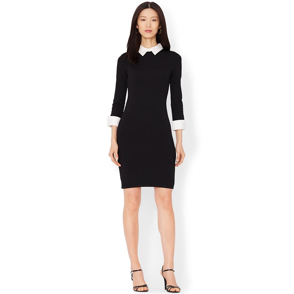 5fe3203bfe9 Lauren Ralph Lauren Petite Three Quarter Sleeve Collared Sweater Dress