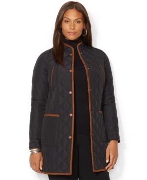 Lauren Ralph Lauren Plus Size Faux-Suede-Trim Quilted Coat