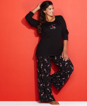 Hue Plus Size Thermal Top and Pajama Pants Set
