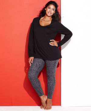 Hue Plus Size Legging Pajama Set