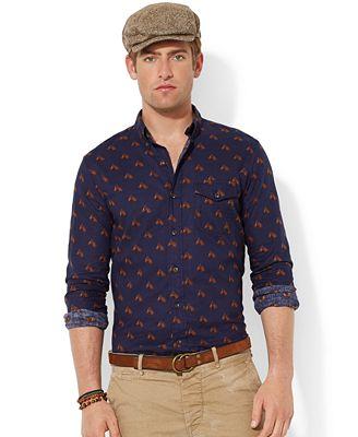 Polo ralph lauren horse print bleecker shirt casual for Polo ralph lauren casual button down shirts