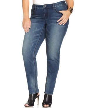 Seven7 Jeans Plus Size Skinny Knit Jeans, Poison Wash