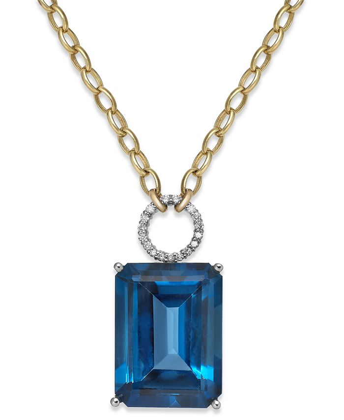 Macy's - Blue Topaz (26 ct. t.w.) and Diamond (1/6 ct. t.w.) Pendant Necklace in 14k Gold