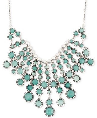 Lucky brand silver tone green statement necklace jewelry for Macy s lucky brand jewelry