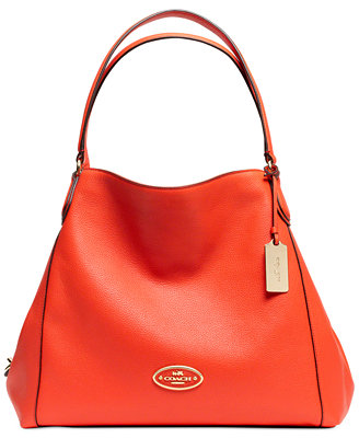 coach edie shoulder bag in leather coach handbags