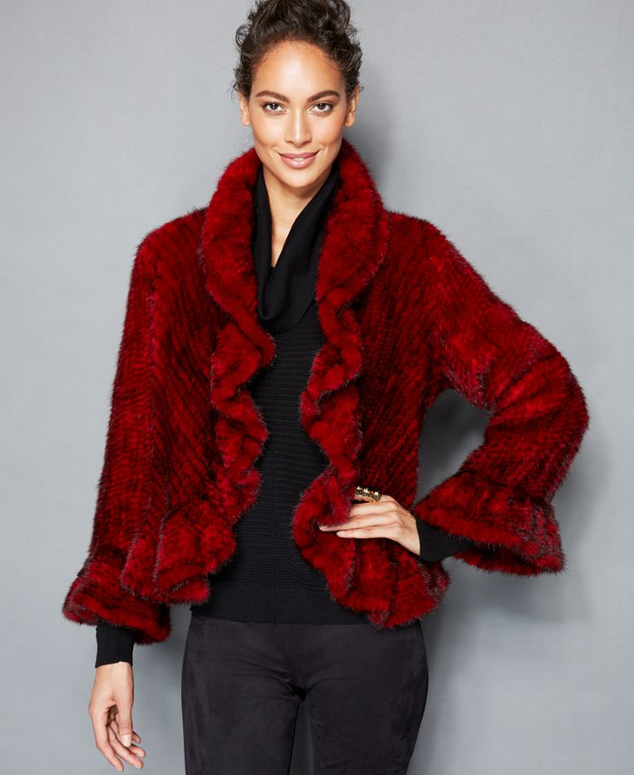 The Fur Vault - Knitted Mink Ruffled Jacket
