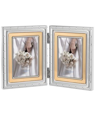 "Vera Wang Wedgwood With Love Gold 2"" x 3"" Double Folding Frame"