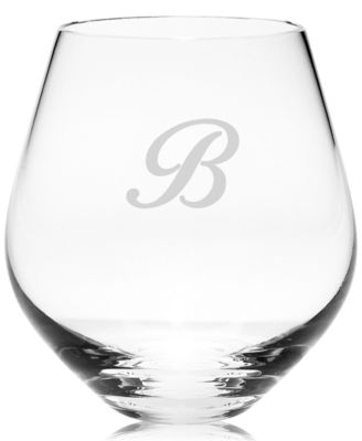 Lenox Tuscany Monogram Stemware, Set of 4 Script Letter Stemless Red Wine Glasses