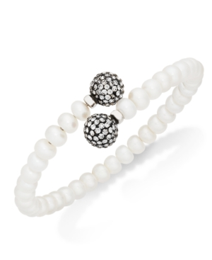 Honora Style Cultured Freshwater Pearl (7mm) and Grey Crystal Coil Bracelet in Sterling Silver