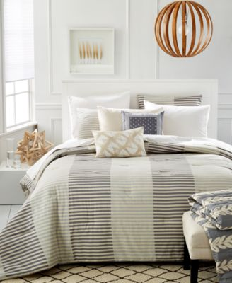 CLOSEOUT! Martha Stewart Whim Collection Two Tone Stripe Full/Queen 5-Pc Duvet Set