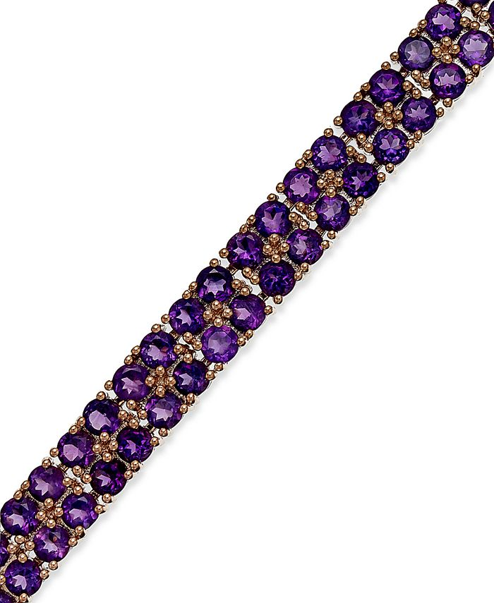 Macy's - Amethyst Two-Row Bracelet in 14k Rose Gold over Sterling Silver (14-1/10 ct. t.w.)
