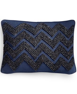"Tommy Hilfiger 12"" x 16"" Beaded Chevron Decorative Pillow"