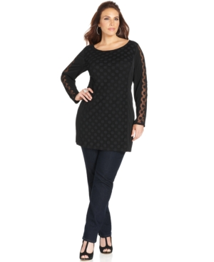 Style & co. Plus Size Sheer-Sleeve Dot-Print Tunic