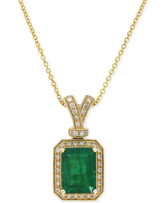 EFFY Collection - Emerald (2-1/5 ct. t.w.) and Diamond (1/5 ct. t.w.) Pendant Necklace in 14k Gold